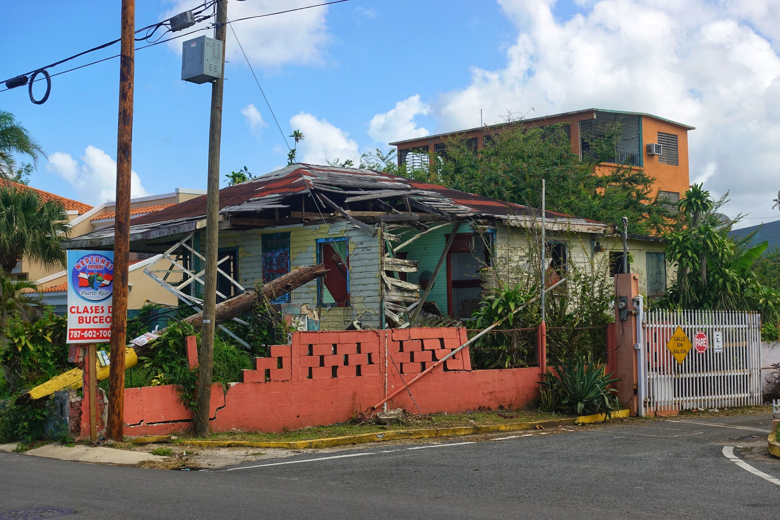 Most of the homes and businesses I saw along the coast between Cataño and Dorado on this day were destroyed and abandoned.