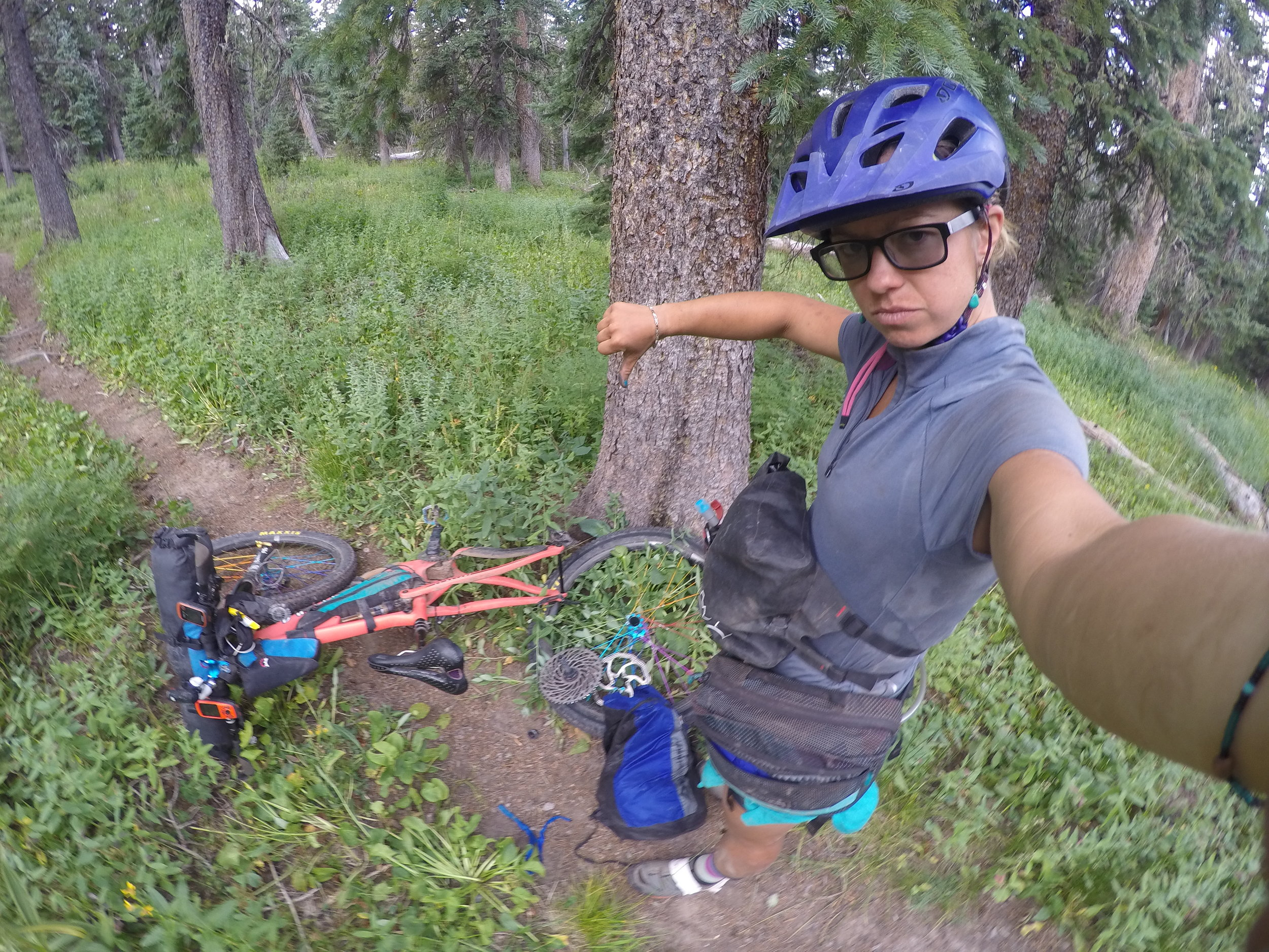 How my 2018 Colorado Trail Race ended: with a broken body and a broken bike, 22 miles from the end.