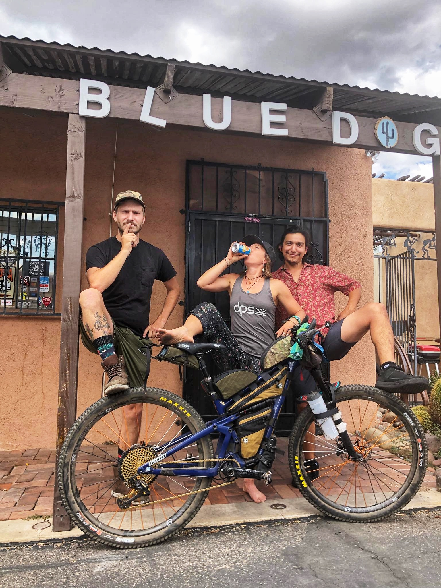 I showed up, in Tucson, back to my regular goofy self. Shenanigans with Nate and Jesse outside Blue Dog Bicycles. T minus one day until the AZTR start!