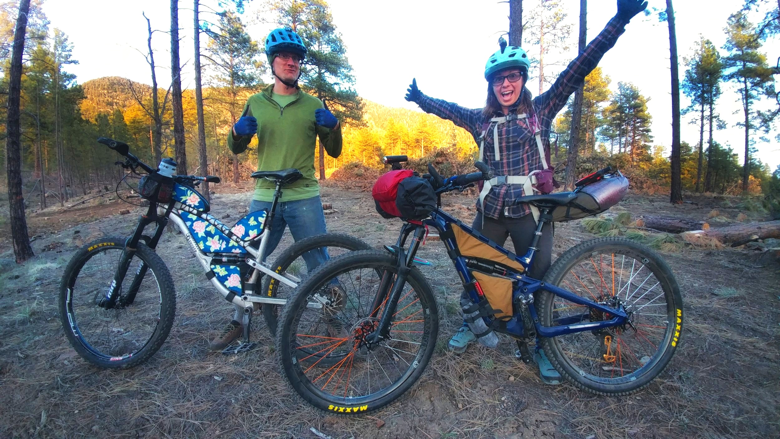 Riding with my friend Nick, from Rogue Panda Designs, doing a bag shakedown before he broke his leg.