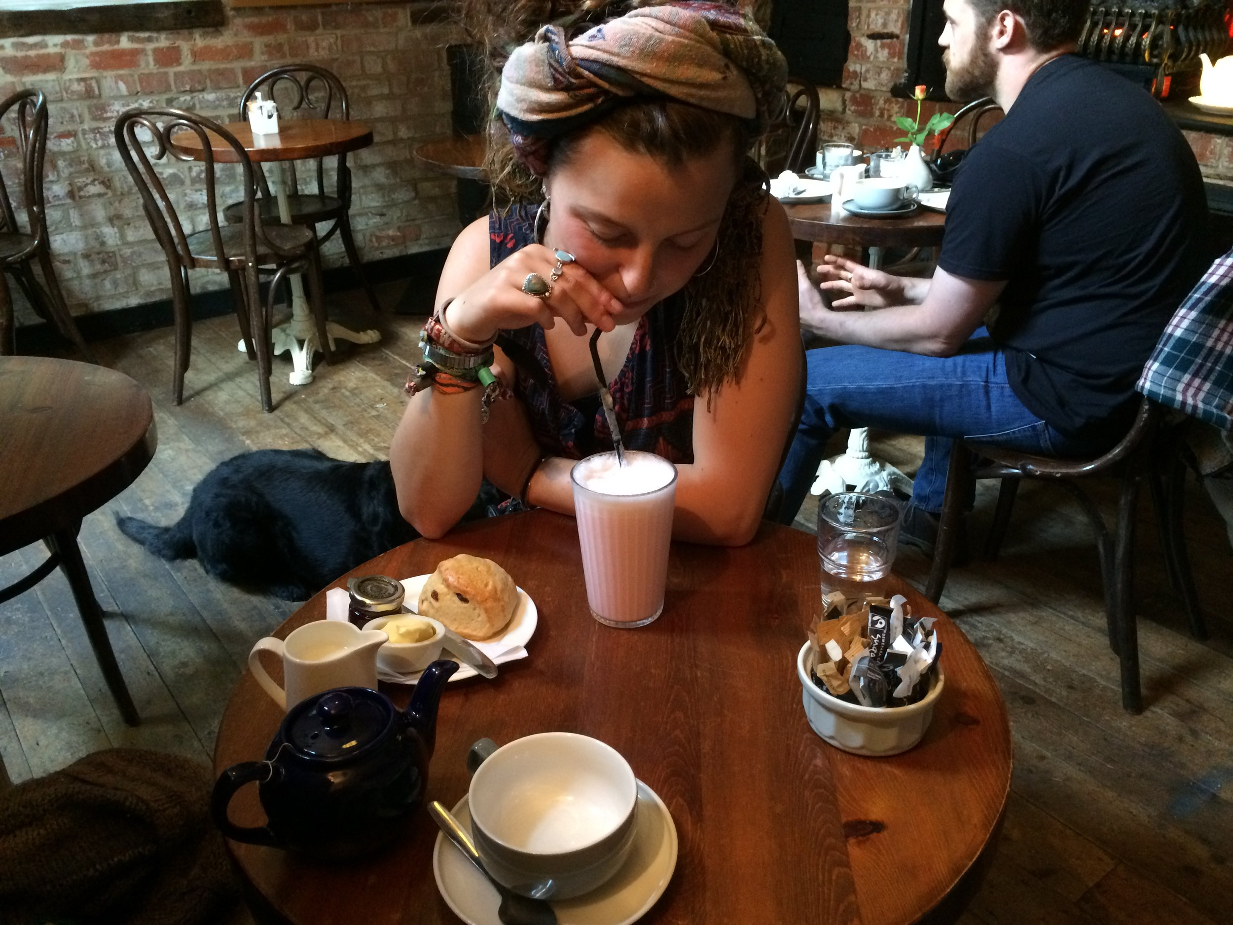 Cup of tea (Leslie) and a strawberry shake for local tattoo artist and photographer, Joelle Poulos, at the Hot Gossip Coffeehouse we often frequented due to homemade pastries.