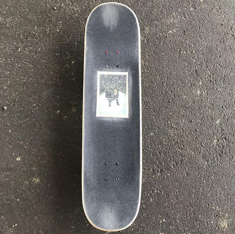 Gunner on a skateboard