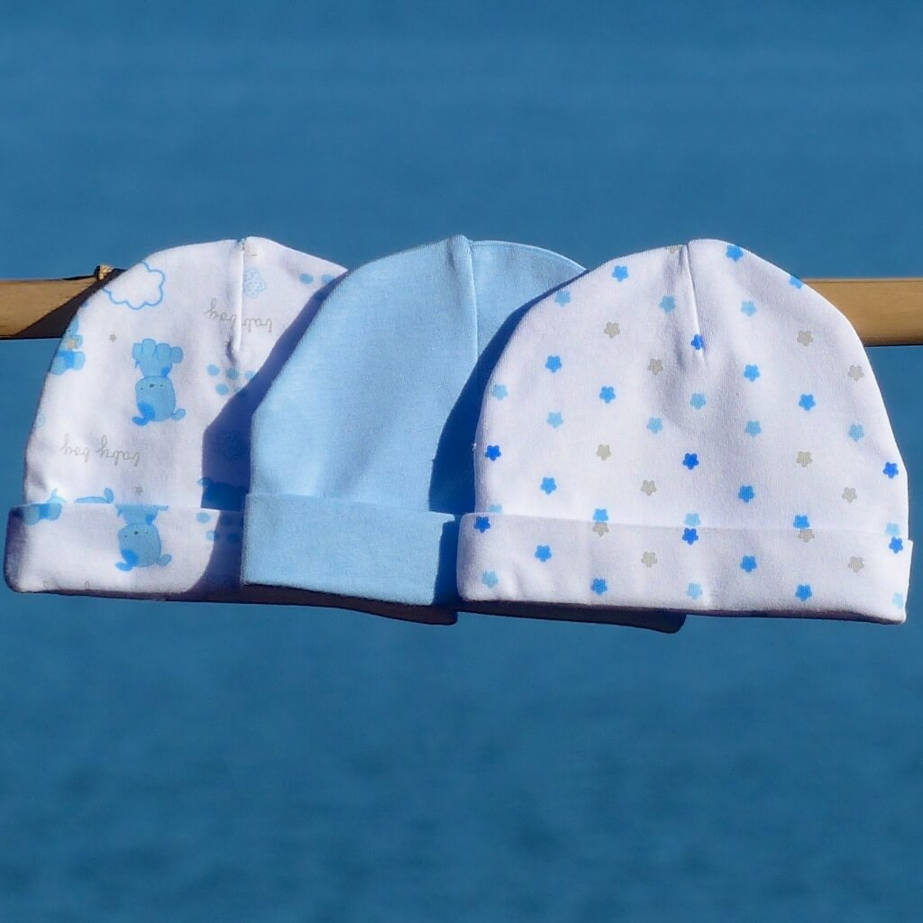 Sale only - $16.80 for set of 3 baby hats - 100% cotton, 100% soft and comfy - 3 baby boy hats