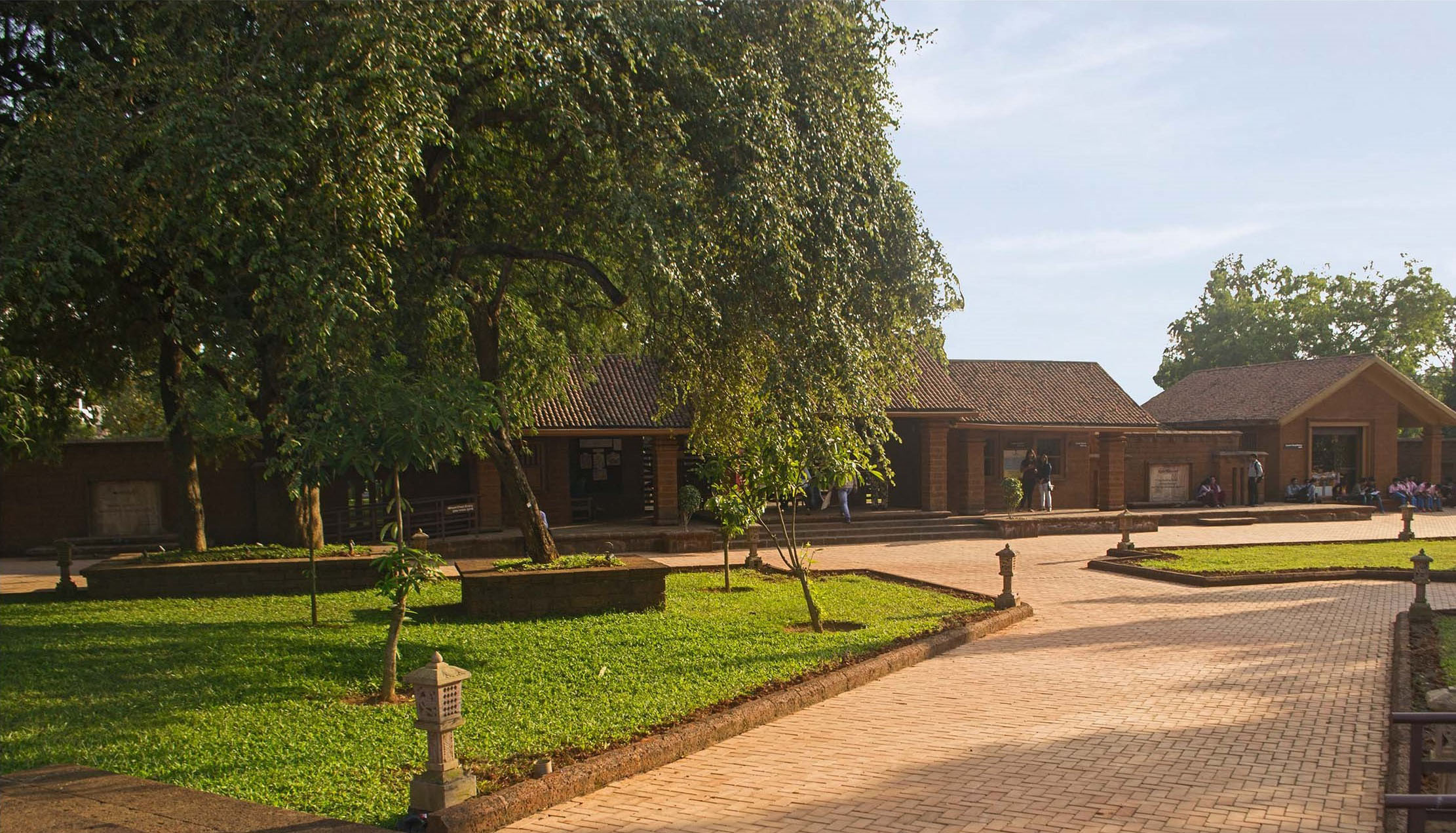 View of entrance block from pedestrian gate