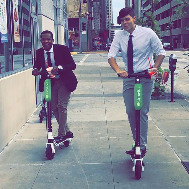 When a few team members go for a smoothie break they take scooters! 🙃☀️🛴💨 #prime #pcgstl #downtownstl #downtownstlouis #marketing #limescooter #teamwork #business #smoothies #sales #limebike #birdscooters