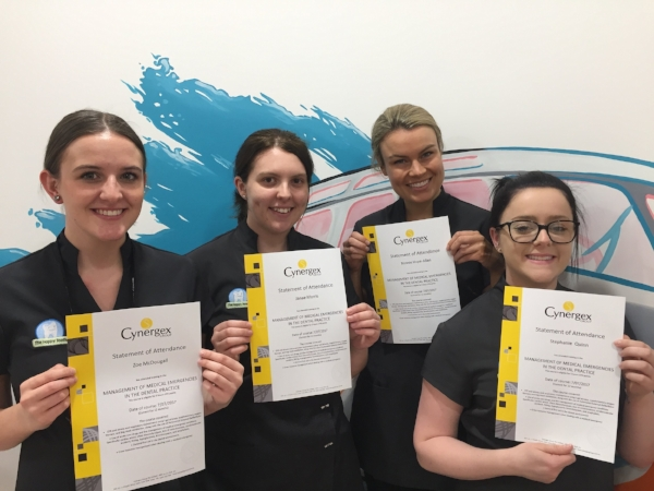 Proud Staff members and Dr Bonnie Hope-Allan with their Certificates