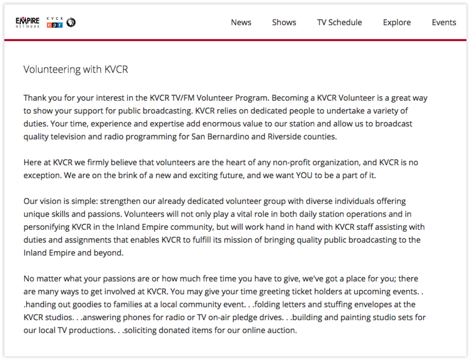 KVCR    matches volunteers by their talents with opportunity spaces.