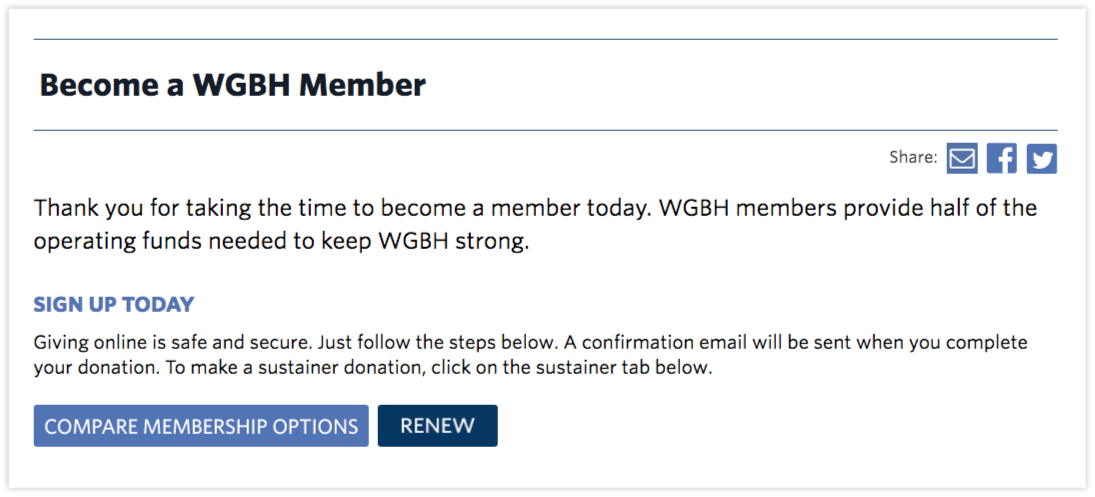 An example of a straightforward membership pitch from    WGBH   .