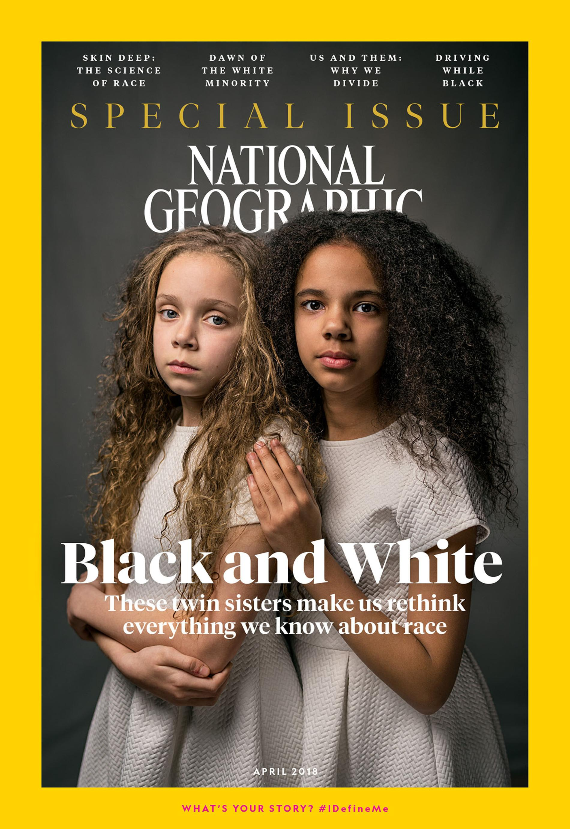 """The controversial cover of National Geographic Magazine's Race Issue from April 2018, the first installment in the publication's """"Diversity in America"""" series, which many saw as an unusual move into politics for the publication."""