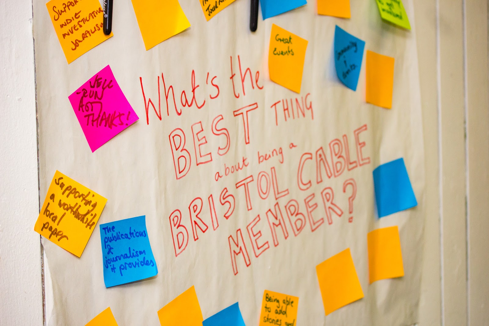 The Bristol Cable collects feedback from members attending the 2018 AGM