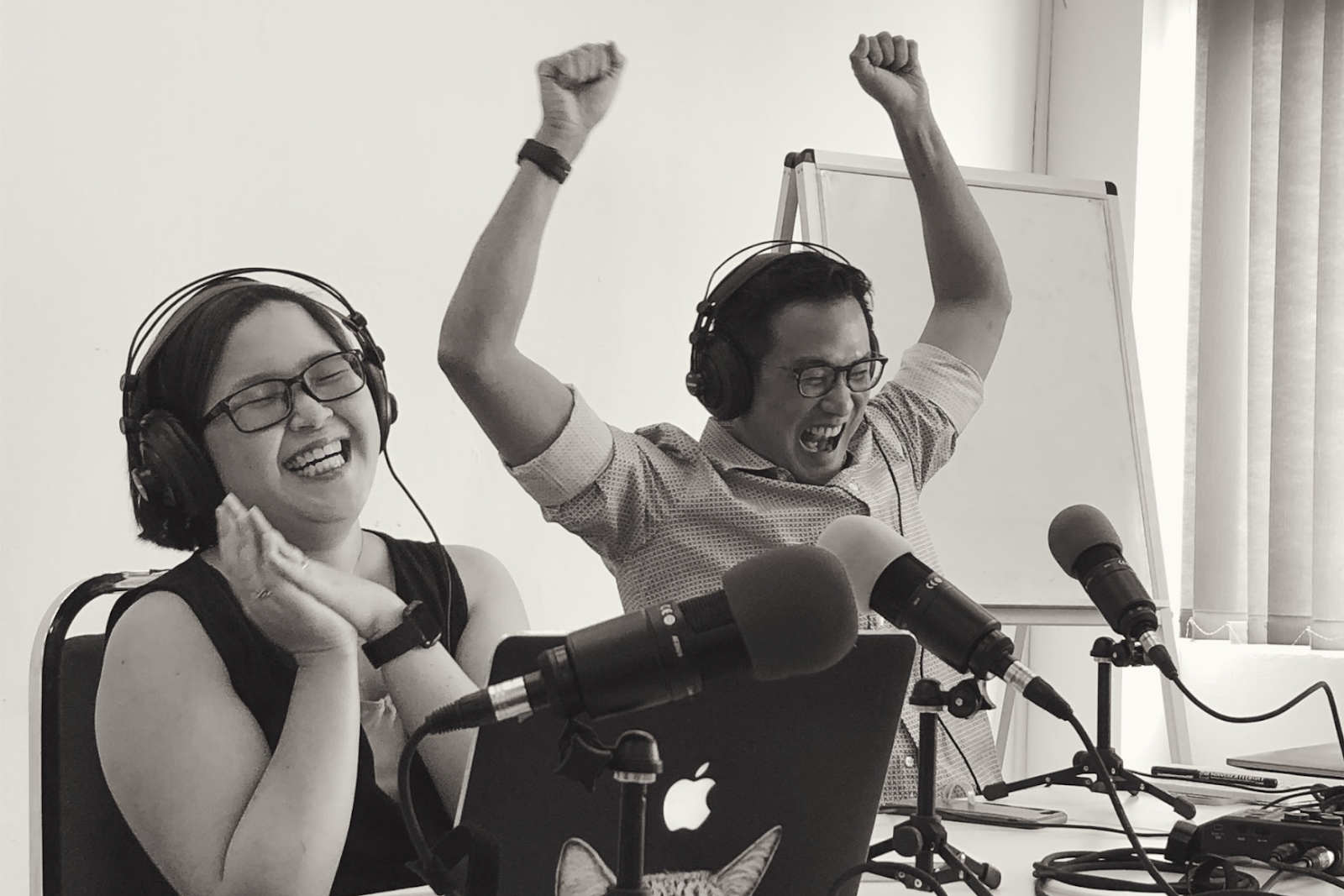"""PJ and Kirsten celebrated New Naratif's first anniversary and a """"very tough"""" first year with a live podcast recording in front of members 