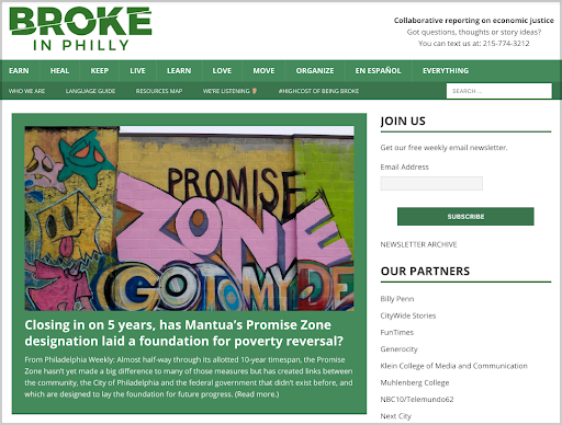 Broke in Philly    is a collaborative journalism project between 21 newsrooms in Philadelphia.