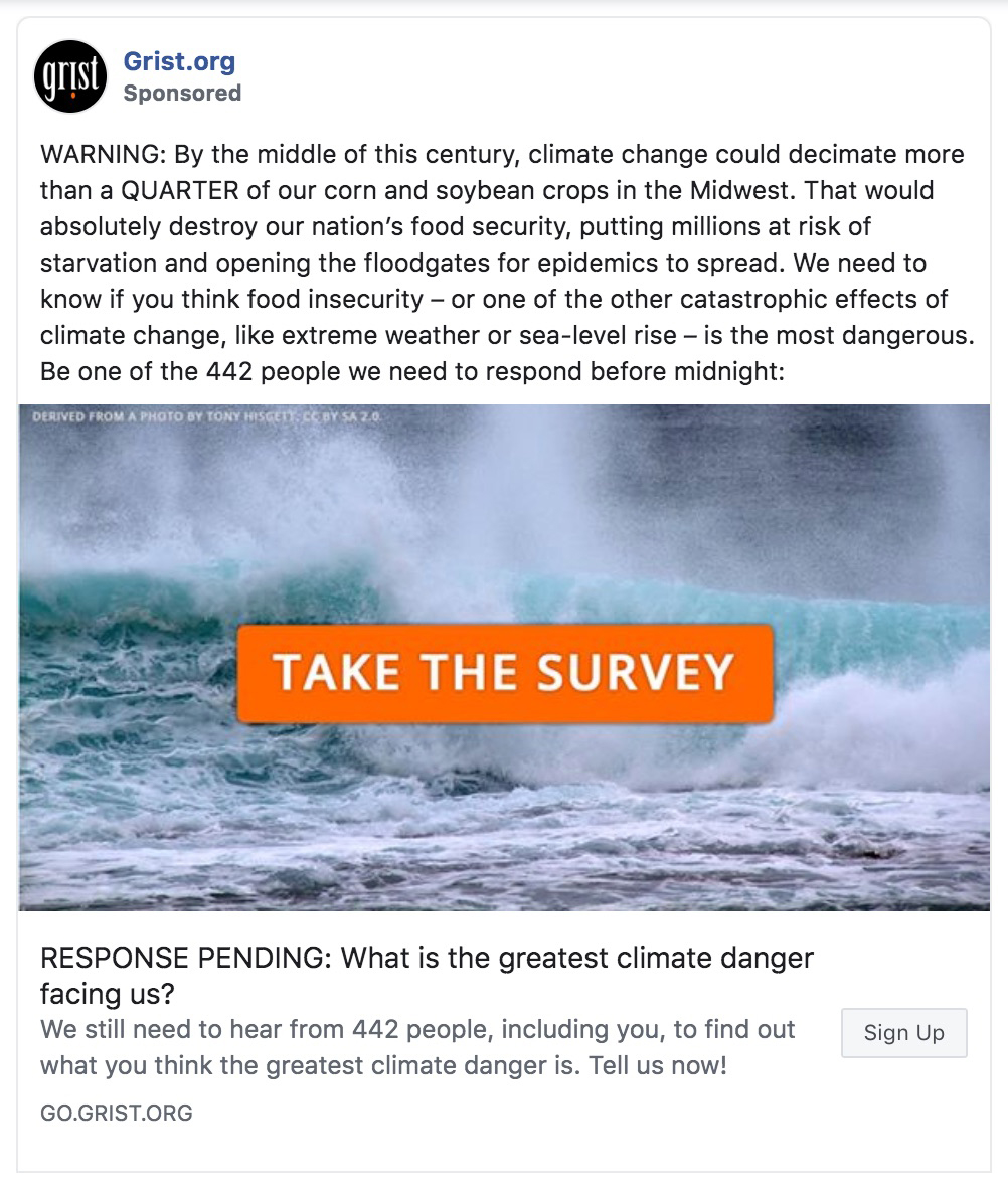 Two Facebook ads run by Grist.org that the company posted with the goal of growing their newsletter list.