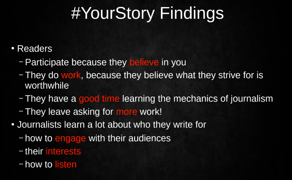 Inside Story in Greece launched the #YourStory initiative three years ago to give readers an opportunity to suggest story ideas. Now, the initiative includes multiple workshops in which readers work alongside journalists to develop, focus, and transition story ideas into full-scale investigations on topics including local government, health, education, and the environment.