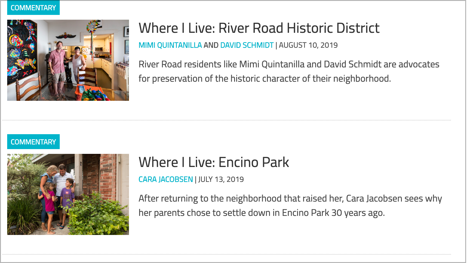 """A screenshot of two """"Where I Live"""" profiles by the Rivard Report."""