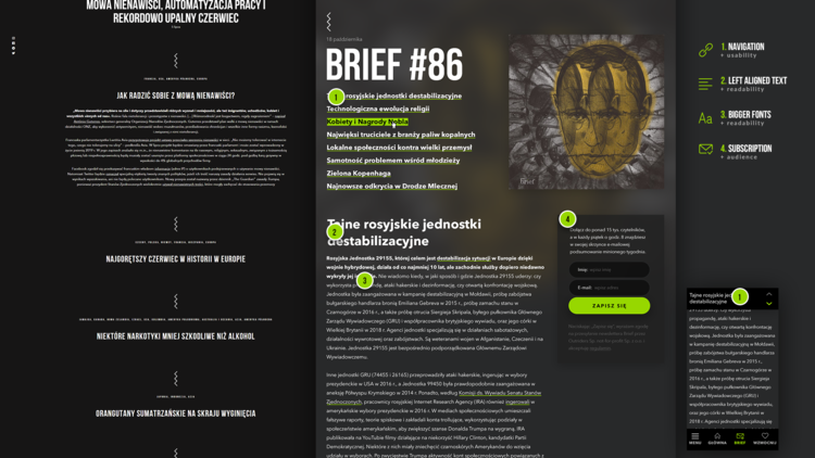 An edition of Brief, with (1) a table of contents of all the stories in the current issue (mobile version in the smaller box in the bottom right), (2) left-aligned font for better online reading, (3) larger fonts for reading ease, and (4) the same newsletter signup box as above.
