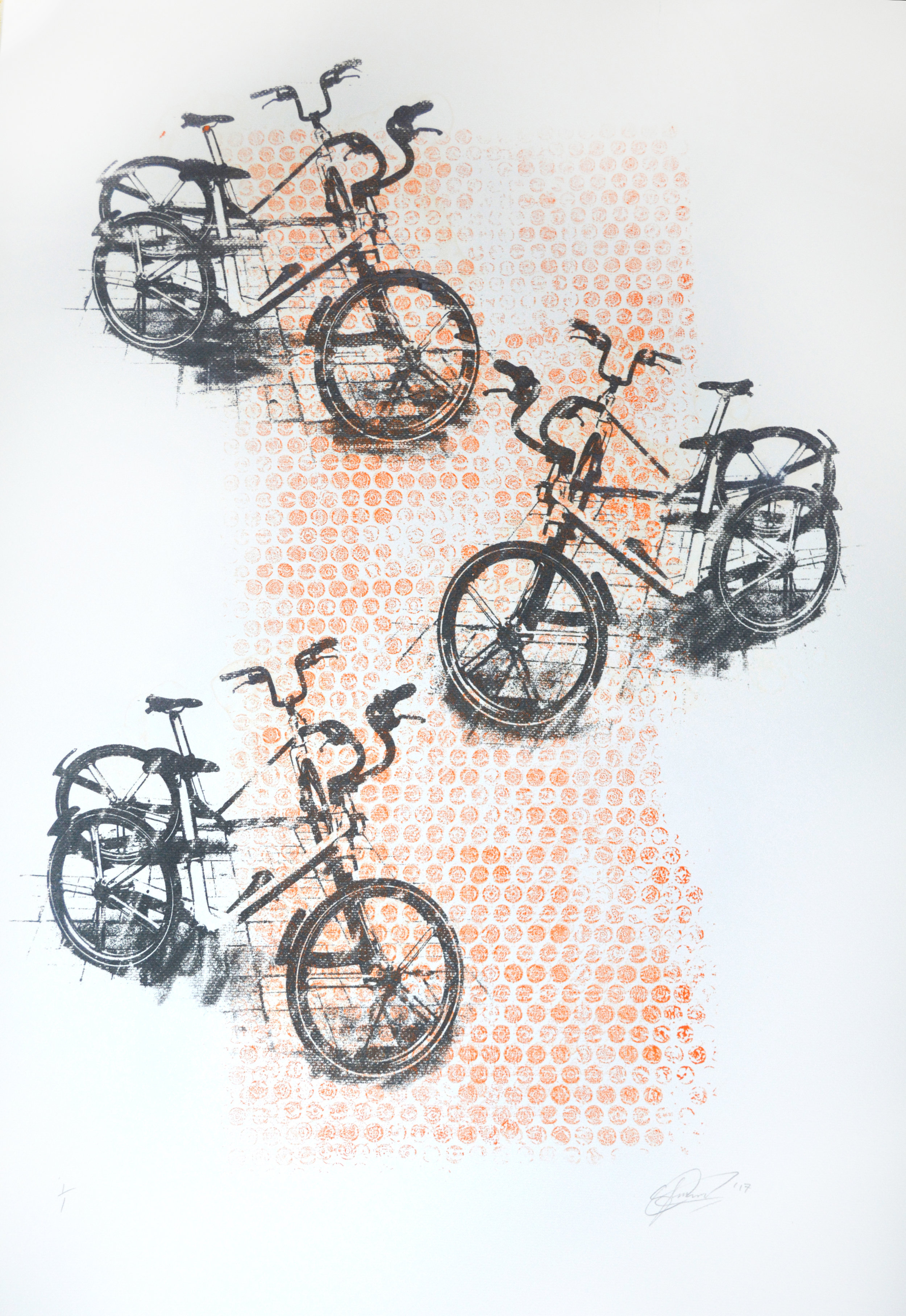 Bikes 2 - Monoprint on Paper. 65x85cm. 2017. SOLD.