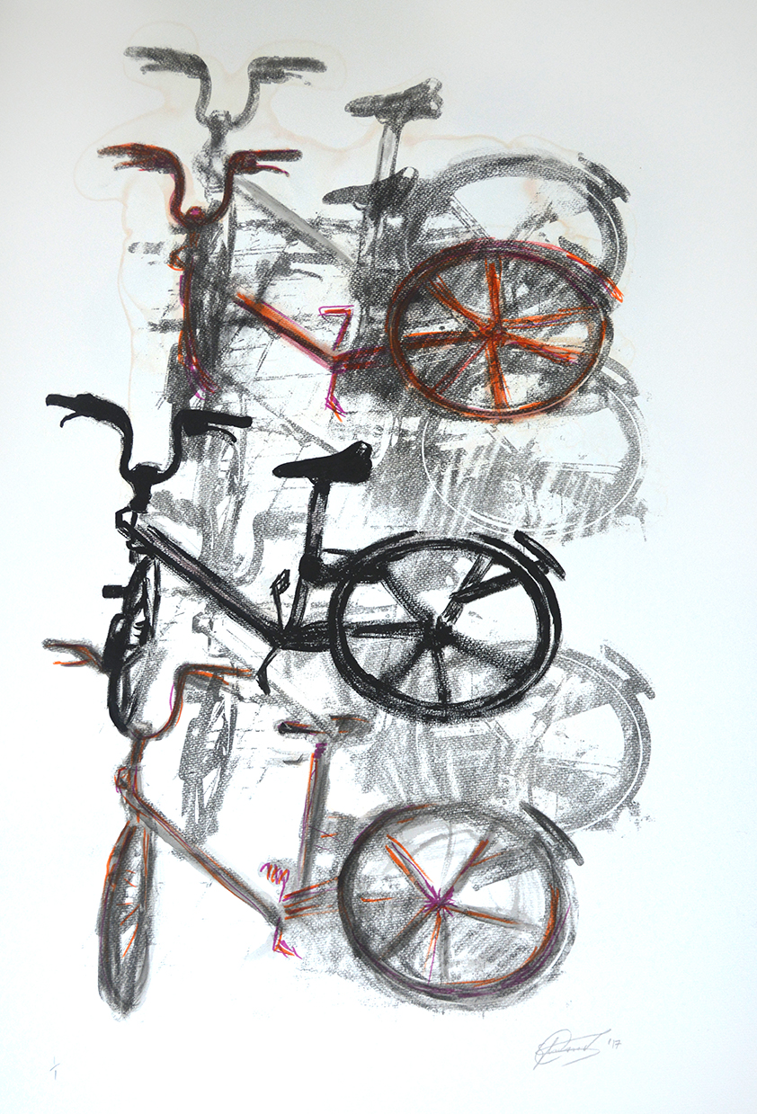 Bikes 3 - Monoprint /Drawing on Paper. 65x85 cm 2017.