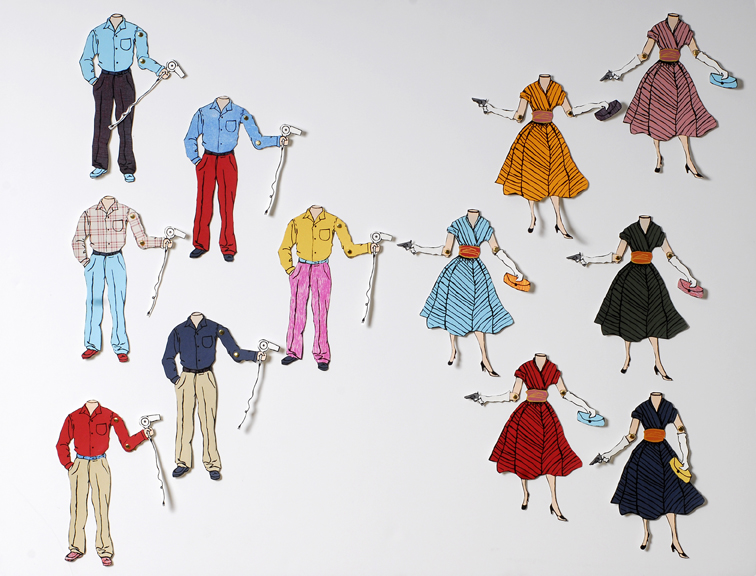 Paper Dolls (Version 1). Screen Prints/Woodcuts. 2007.