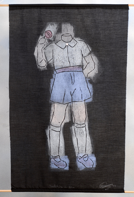 Nostalgia in Blue. Woodcut Print on Fabric. 2007.