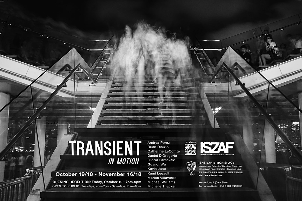 ISZAF Transient in Motion Exhibition Poster. 2018. Background photo by  Marlon Villaverde
