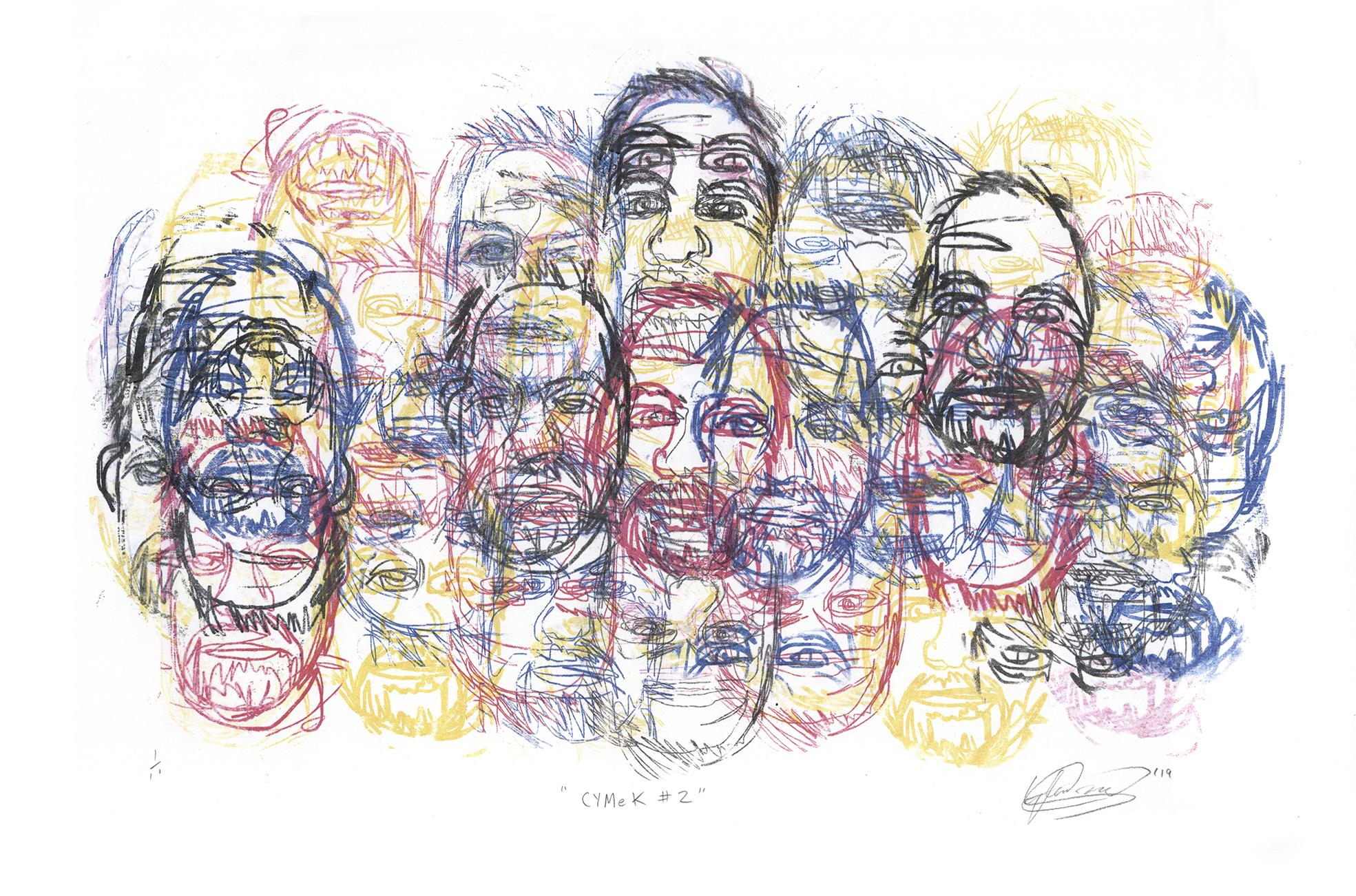 CYMeK # 2. Monoprint on paper. 54cm x 39cm. 2019