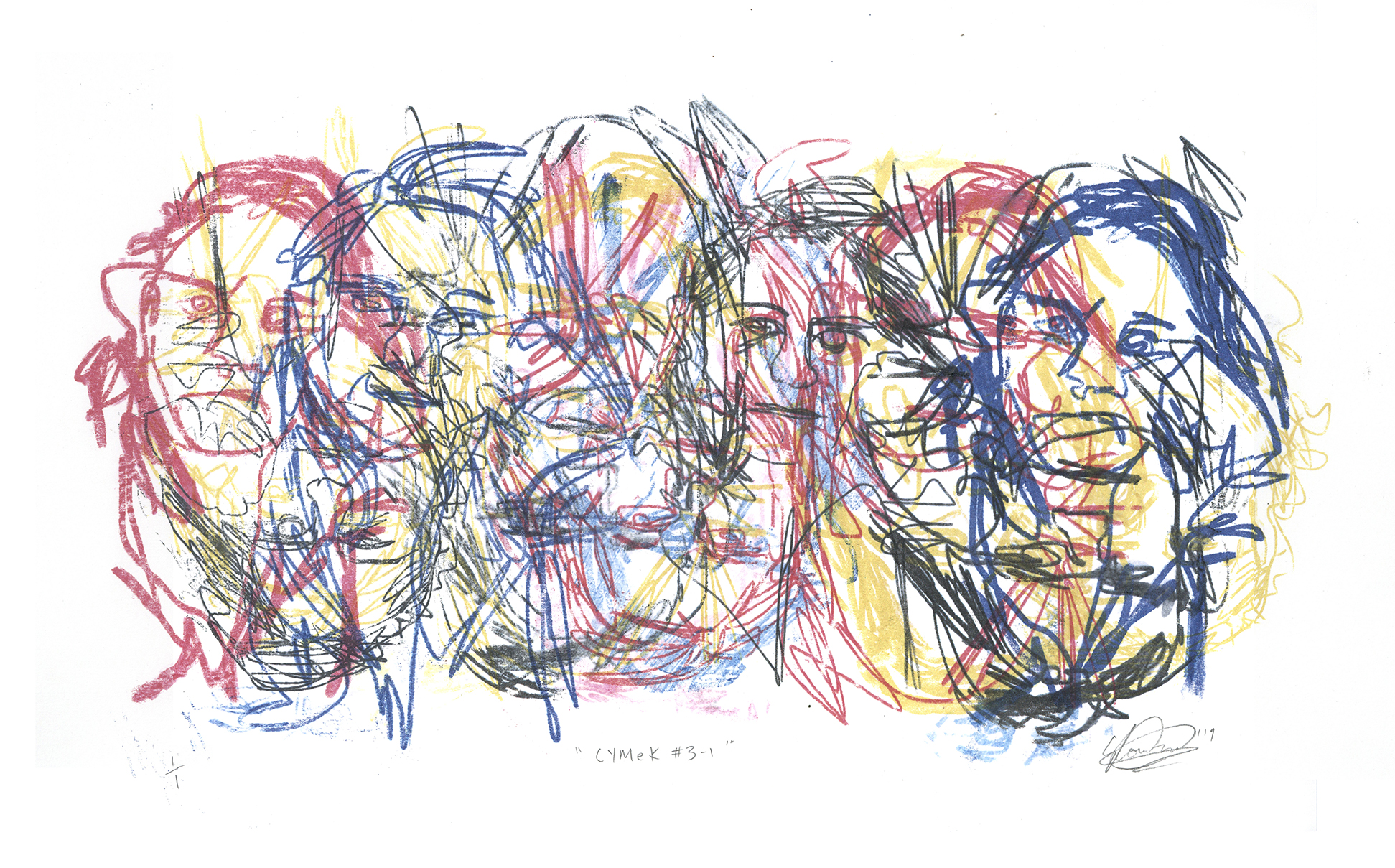 CYMeK # 3-1. Monoprint on Paper. 54cm x 39cm. 2019