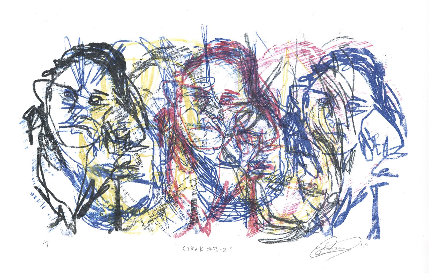 CYMeK # 3-2. Monoprint on Paper. 54cm x 39cm. 2019
