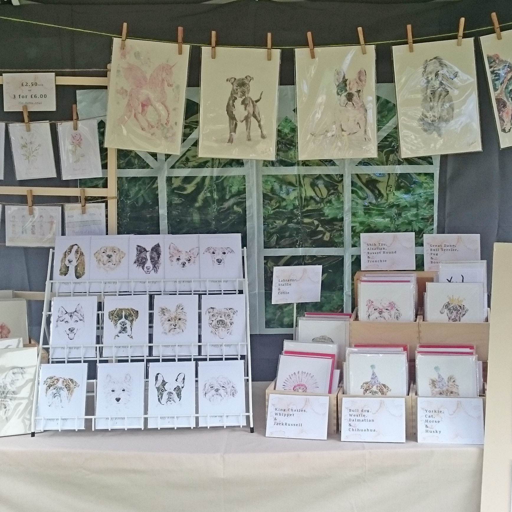 A little snapshot of my stall at the Homeless Hounds Companion Dog Show.
