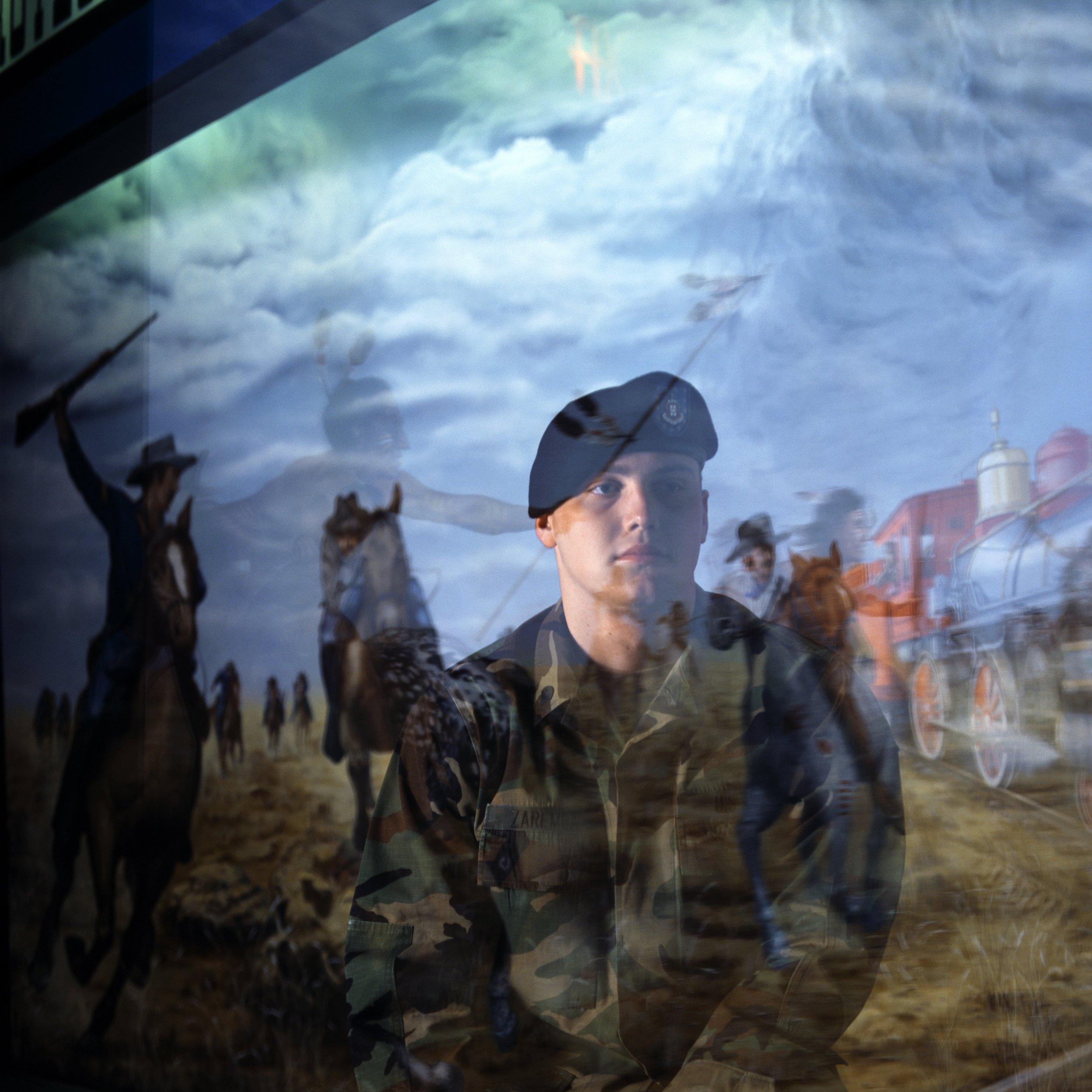Spc. Adam Zaremba, who lost his leg in combat Iraq, photographed  at Ft. Riley Kansas at the Cavalry Museum on base.   2004