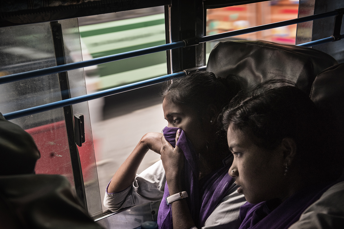 India, Bangalore, June 2016, Coming from the small villages, young married women are taken by train and bus to the garment factories.