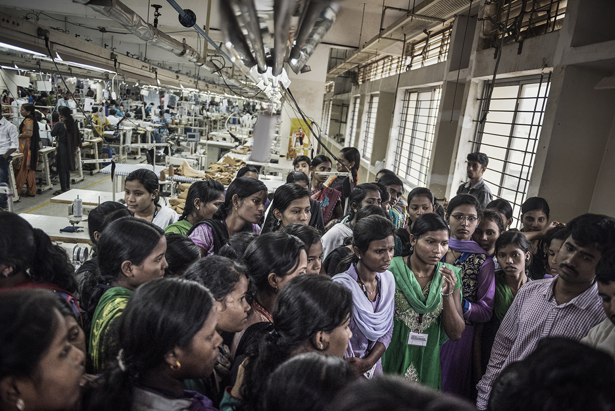 India, Bangalore, June 2016, Factory girls from small villages in India have been shipped to the K. Mohan clothing factory to work.