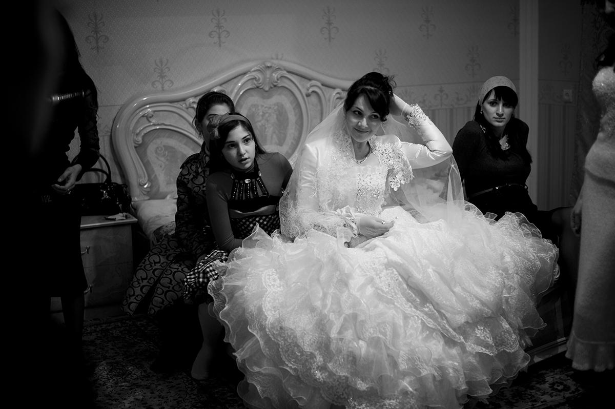 Russia, Ingushetia, October 2009, Surrounded by family, Medina Khamkoyeva prepares for her wedding party in the Republic of Ingushetia.