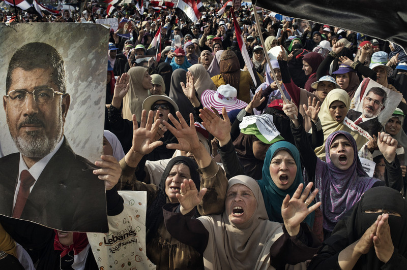 Supporters of ousted President Mohammed Morsi protest in Nasr City.