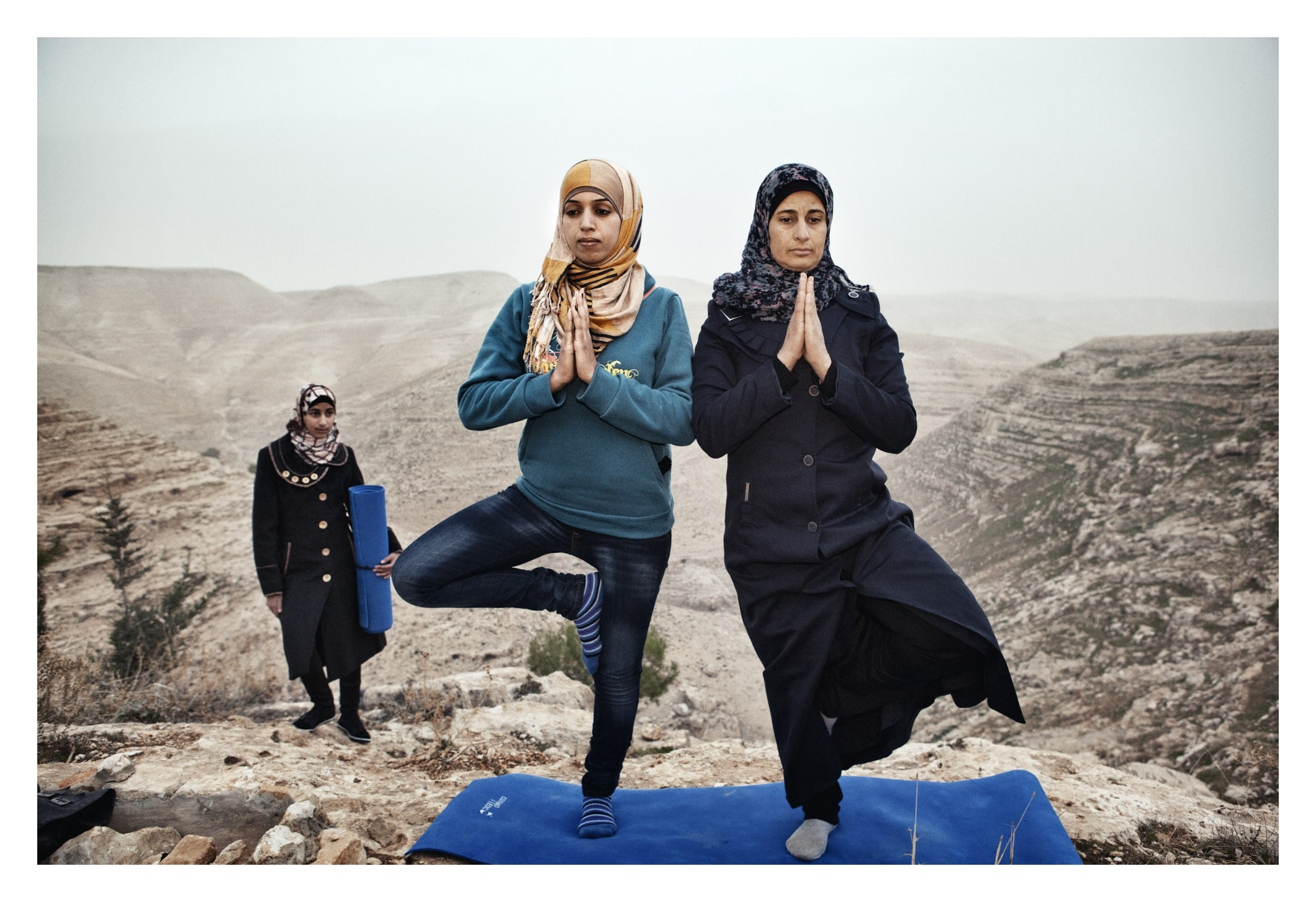 Occupied Palestinian Territories, West Bank, Za'tara, 06 January 2013Hayat (left) teaches yoga to the residents of her village, Zataara,  on the outskirts of Bethlehem in the West Bank. The women are increasing in number each week.