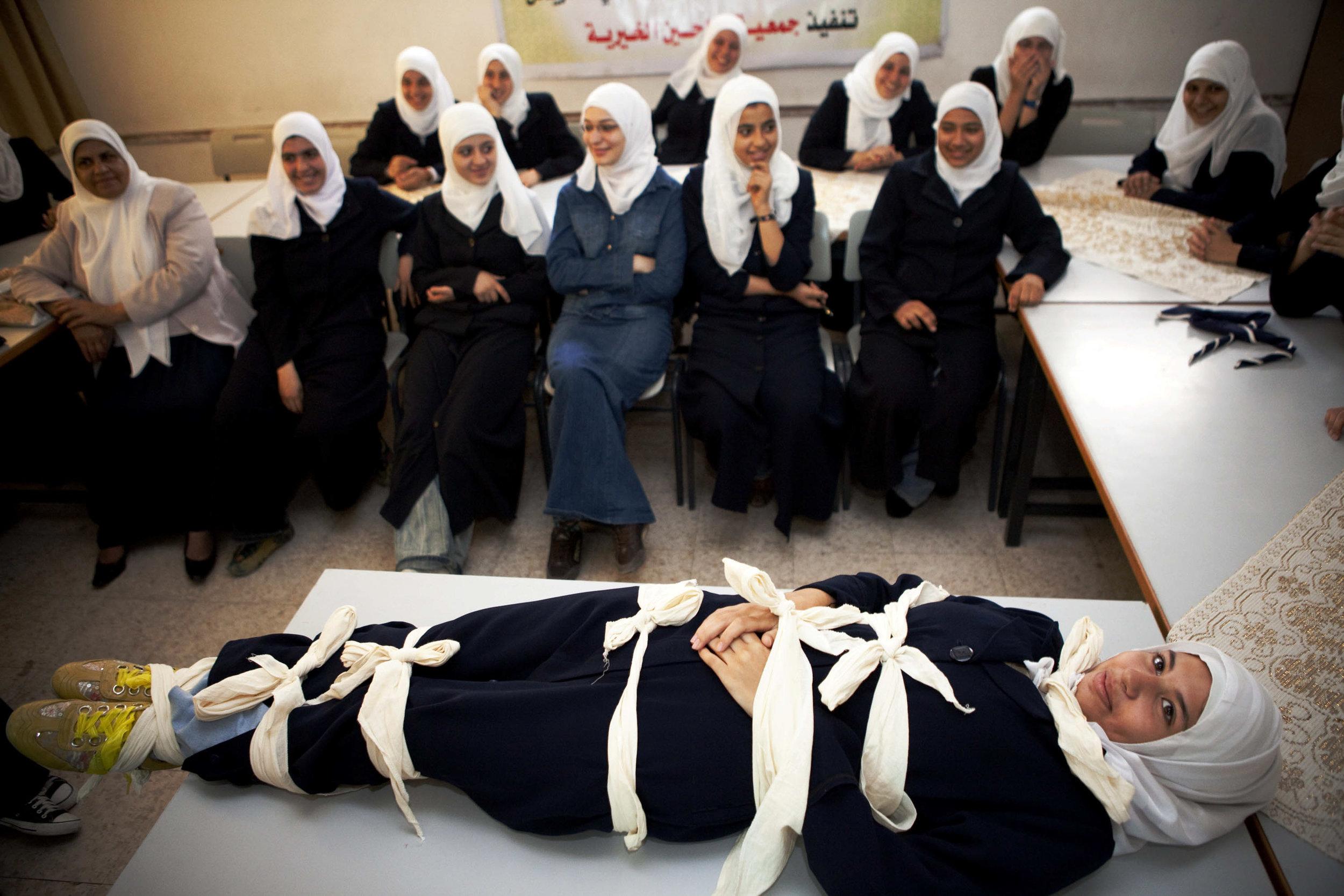 Occupied Palestinian Territories, Gaza, Gaza City, 25 October 2009A girl tied up in a classroom.Tanya Habjouqa / NOOR