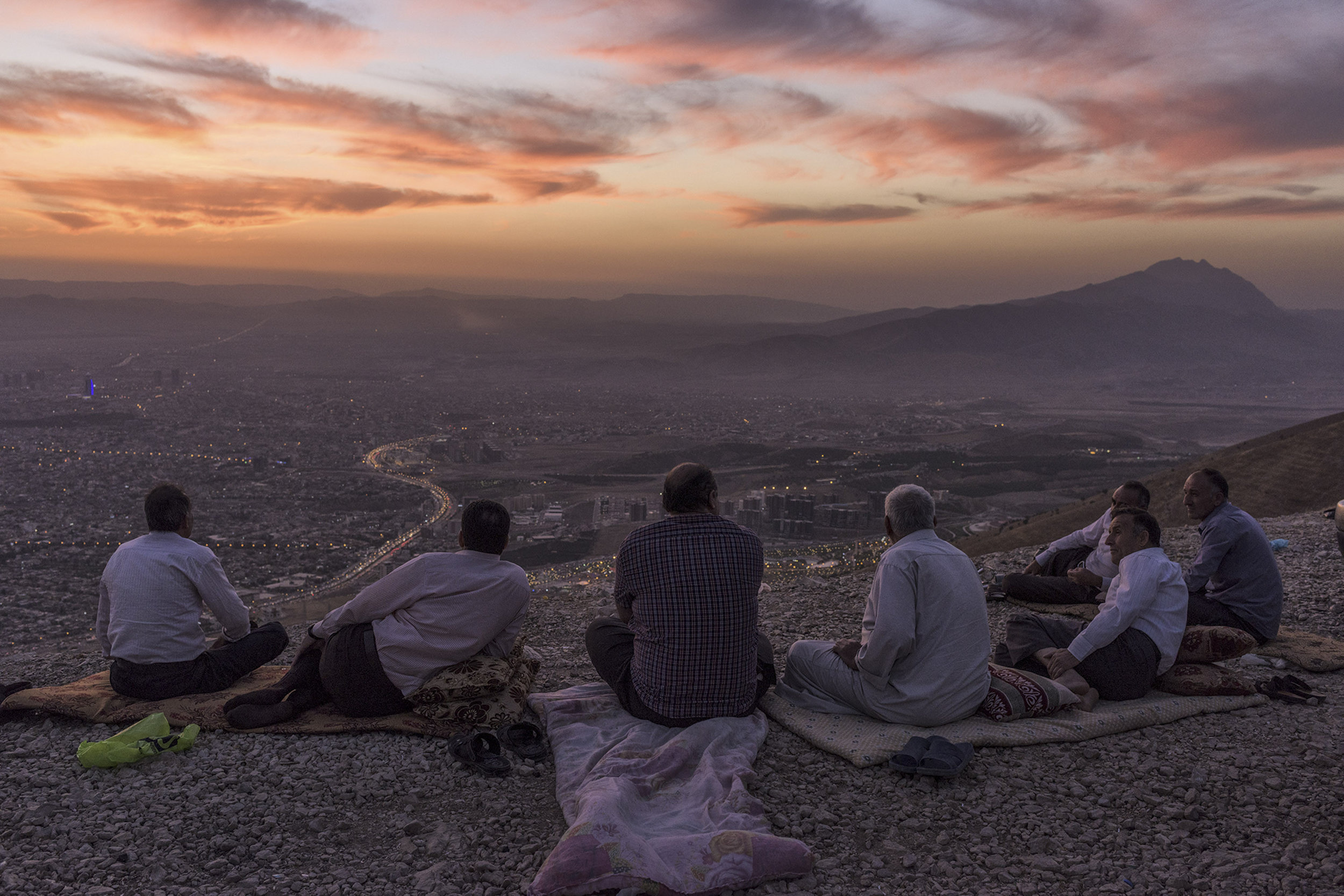 Iraq, Iraqi Kurdistan, Sulaymaniyah, 25 September 2015  The view of the city from the northeastern Goyje Mountain