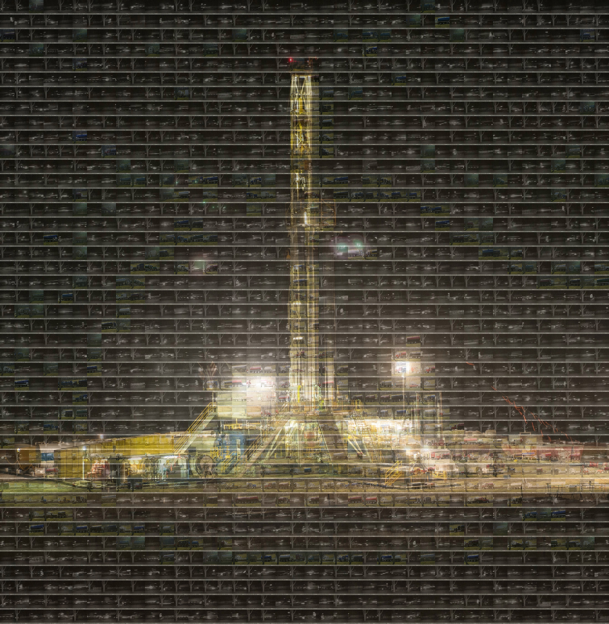 USA, Rome, 2011, A mosaic combining a shale gas drilling rig with 1764 timecoded images compiled from a set of 5121 images which were taken by Hop Bottom resident Frank Finan with a Bushnell wildlife camera over 91 hours from April 26, 2013 through April 30, 2013 showing the amount of truck traffic which passed in front of Rebecca Roter's home in Brooklyn, PA during operation of a nearby shale gas well pad.