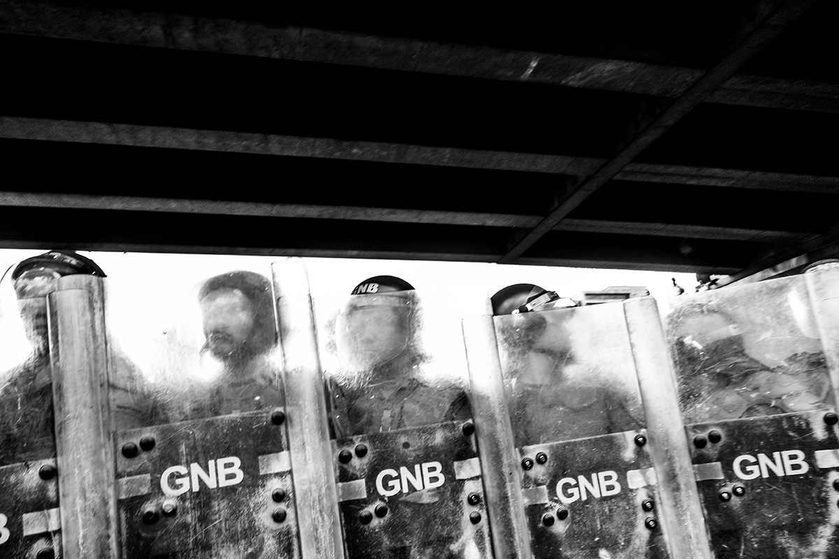 Venezuela, Caracas, April 2013, Bolivarian National Guards during a demonstration against Maduro and the Bolivarian Revolution.
