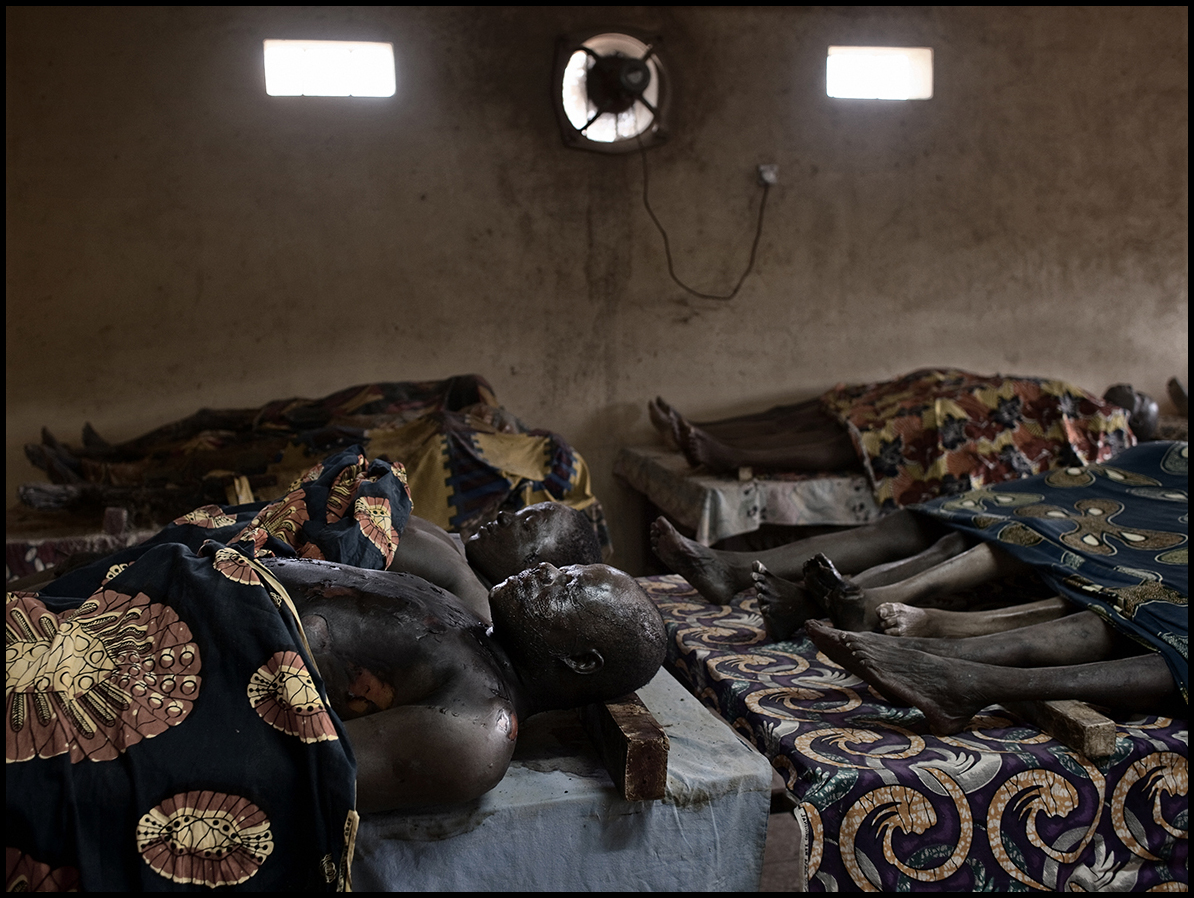Nigeria, Kaduna, April 2011, Bodies of post-electoral violences rest among other corpses in the morgue of Saint Gerard Hospital.