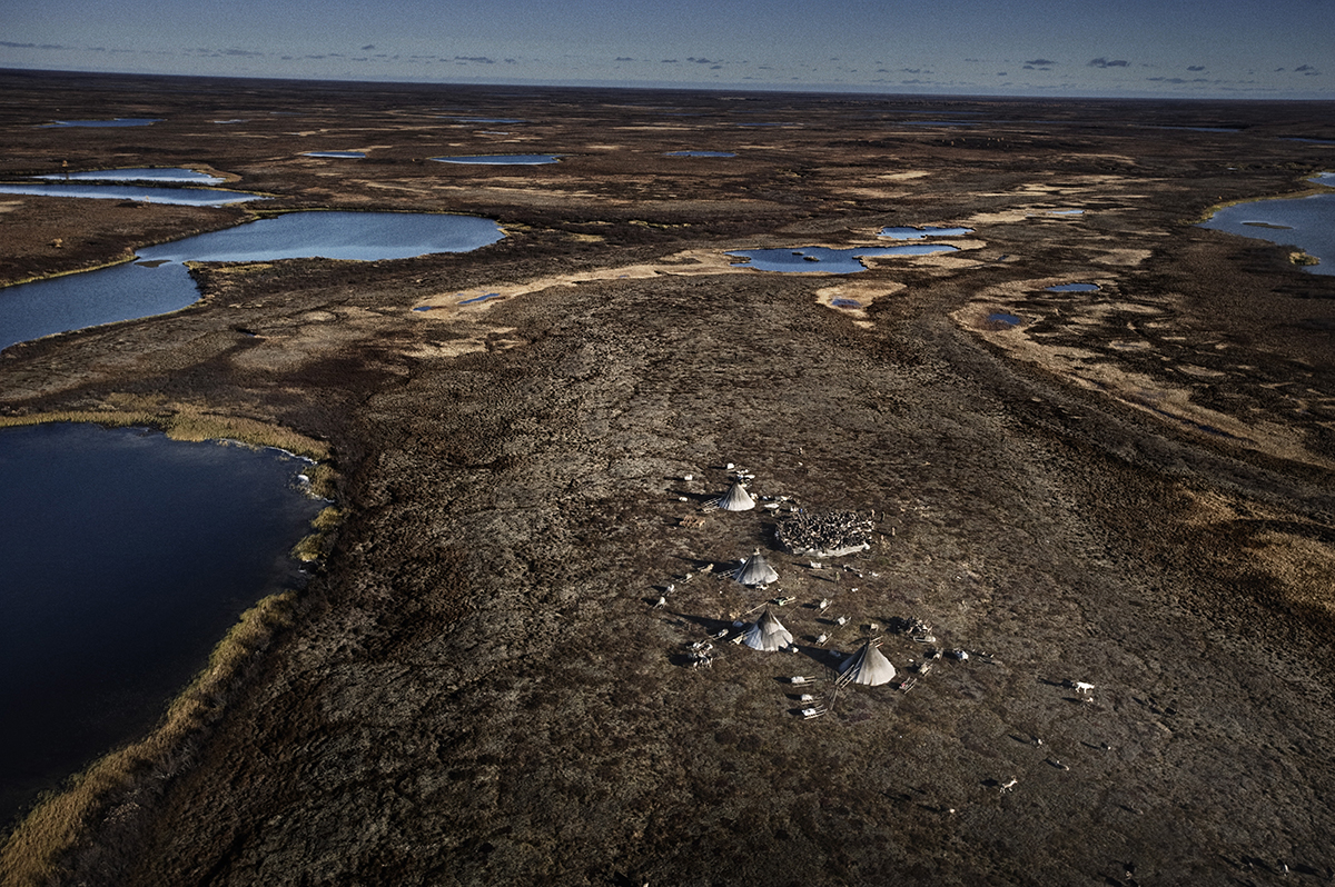 Russia, Yamal, October 2009, Aerial view of Yamal peninsula.The camp of the nomadic Nenet tribes.