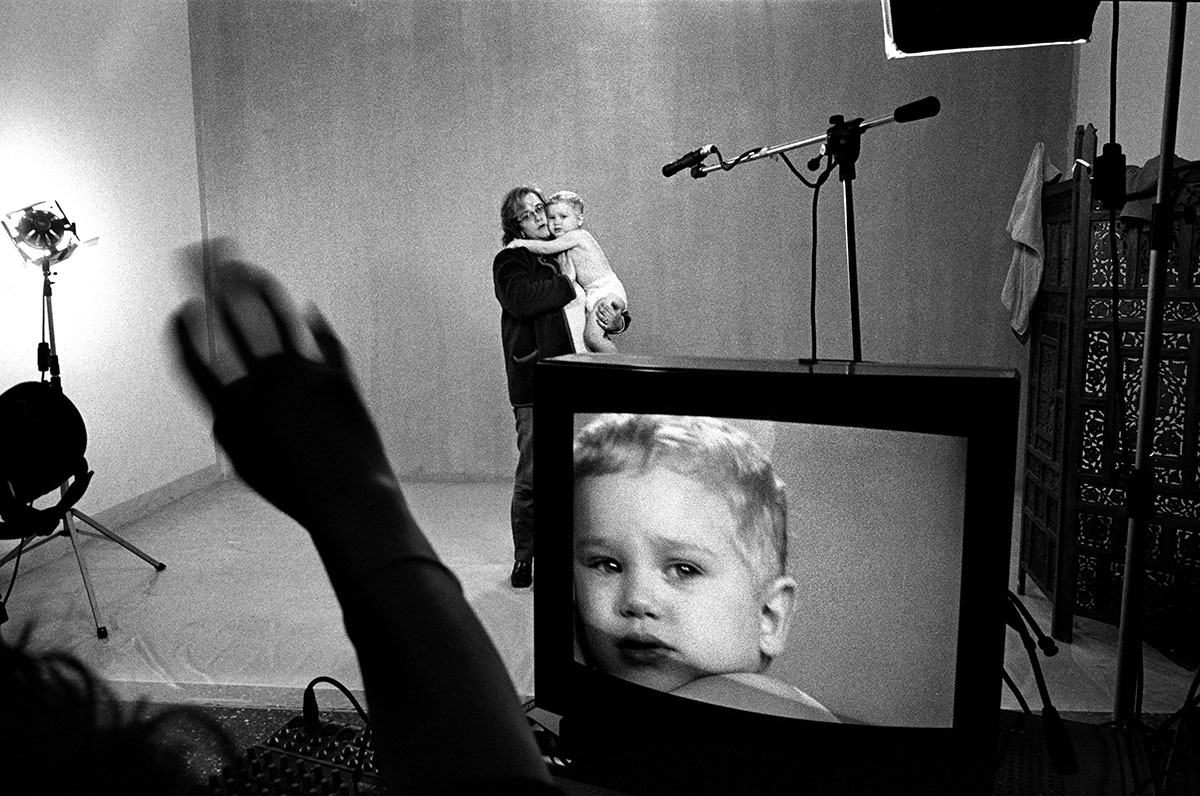 Italy, Milan, 2000, Casting for a diaper television commercial.