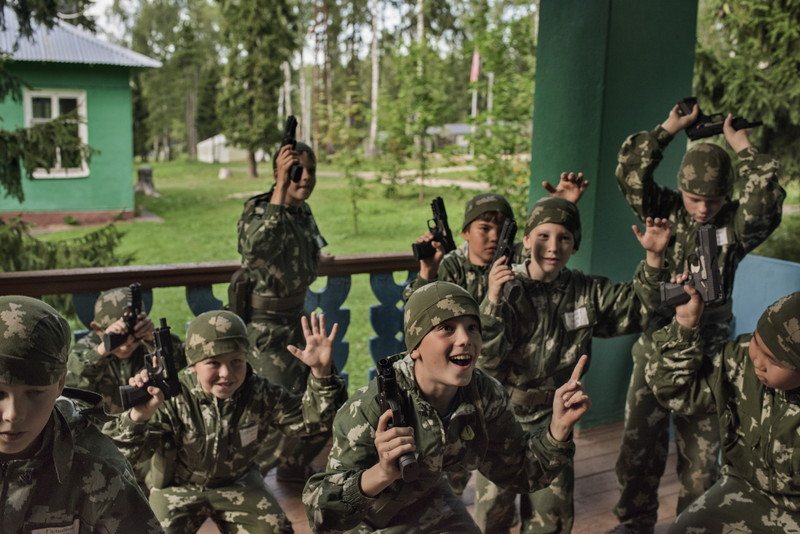 "Russia, Klin, August 2016, At the children's military summer camp known as Razvedbat, meaning ""Reconnaissance Battalion,"" Russian boys and girls prepare for military service, learn to love their country and to fight for it, using a rich variety of weapons."