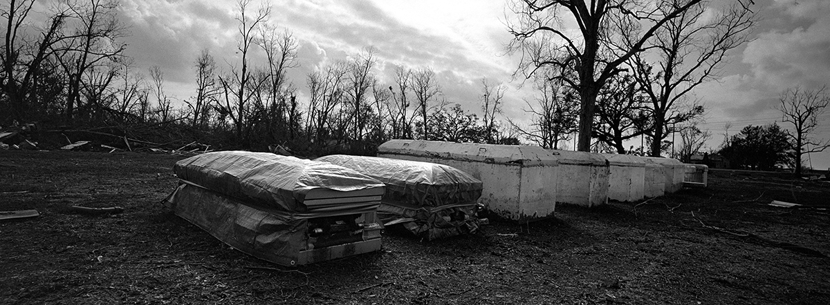 USA, Violet, January 2006, Coffins that were not reburied after the hurricane.