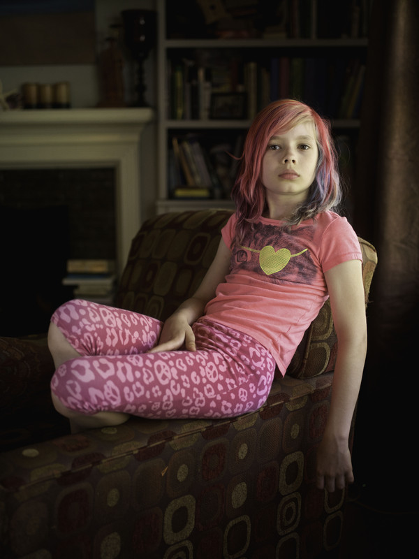 USA, Missouri, Kansas City, 30 May 2016  American nine year old transgender girl Avery Jackson at home in Kansas City. She hopes to be a zookeeper, chef, or youtuber when she grows up.  Robin Hammond / NOOR