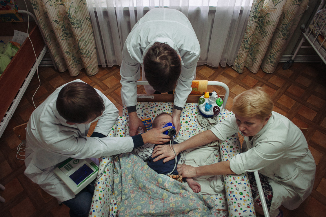 Doctors are trying to figure out minimum quantity of calories that the child need to stay alive. They want to buy enteral nutrition to support his life, as regular food is not suitable fo this child. The money for the food are collected on crowdfunding platform, as the state did�t allocated money for this. October 11, 2016, Minsk, Belarus.