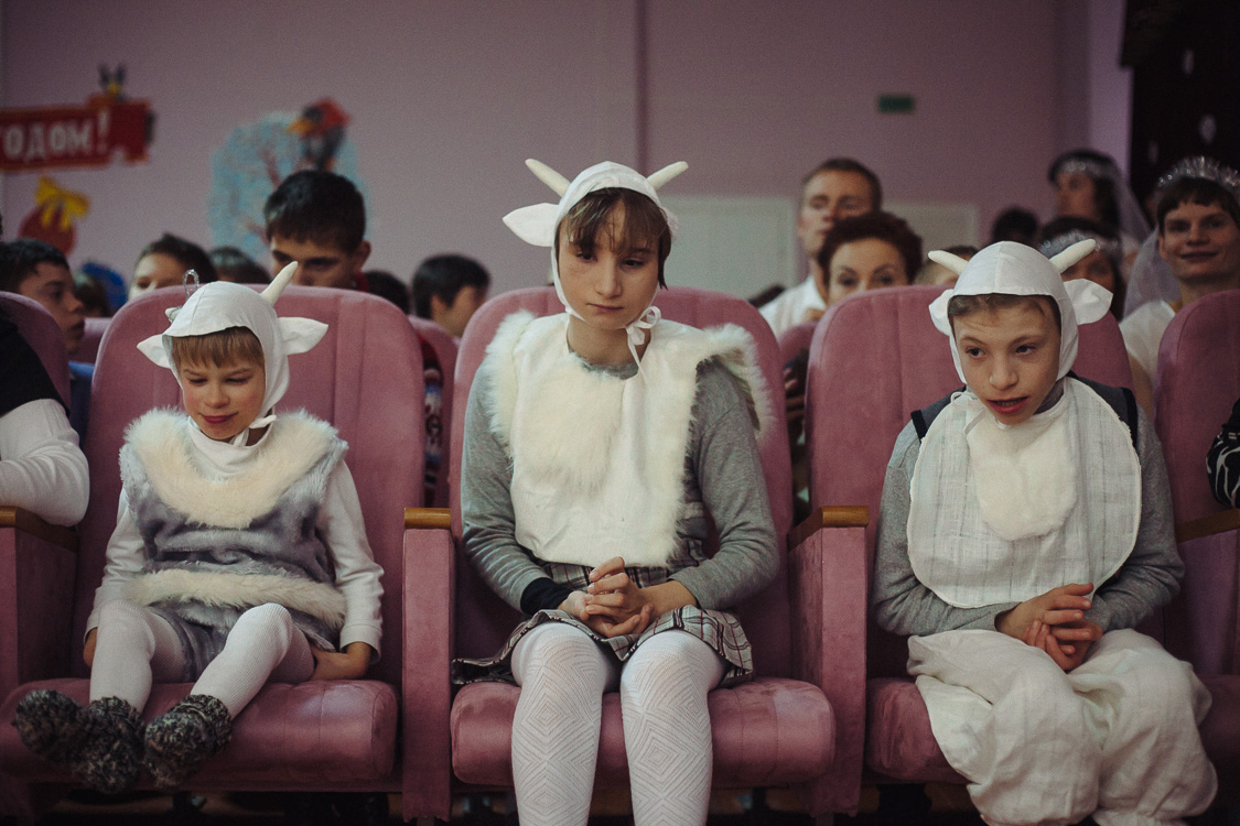 Children participate in the New Year's performance in Cherven orphanage for disabled children and young people with disabilities with psychophysical development. December 23, 2016, Cherven, Minsk region, Belarus. In Belarus, orphanages are closed institutions, which can be accessed during various holidays and performances. Therefore, very little is known about the conditions of life and what is happening in such institutions.