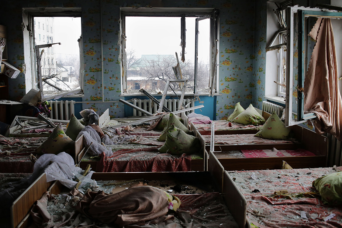 A view to a shelled kindergarten in Debaltseve, Ukraine.Children were evacuated before the shelling.