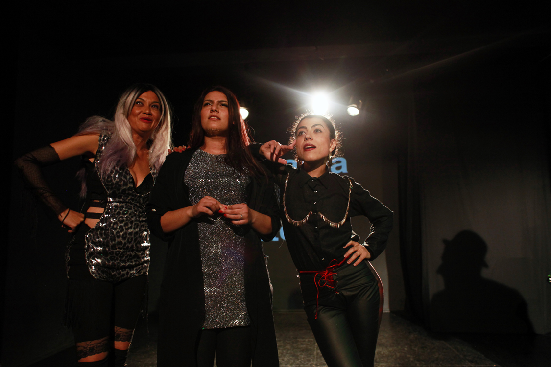 Romanian-Roma actresses Mihaela Drăgan, Elena Duminică and Zita Moldovan during a performance of their show Gadjo Dildo in Cluj-Napoca, Romania, on November 5th 2017. The show is a cabaret-like performance that talks about the exoticisation of Roma women and chalenges sexism inside the Roma community.