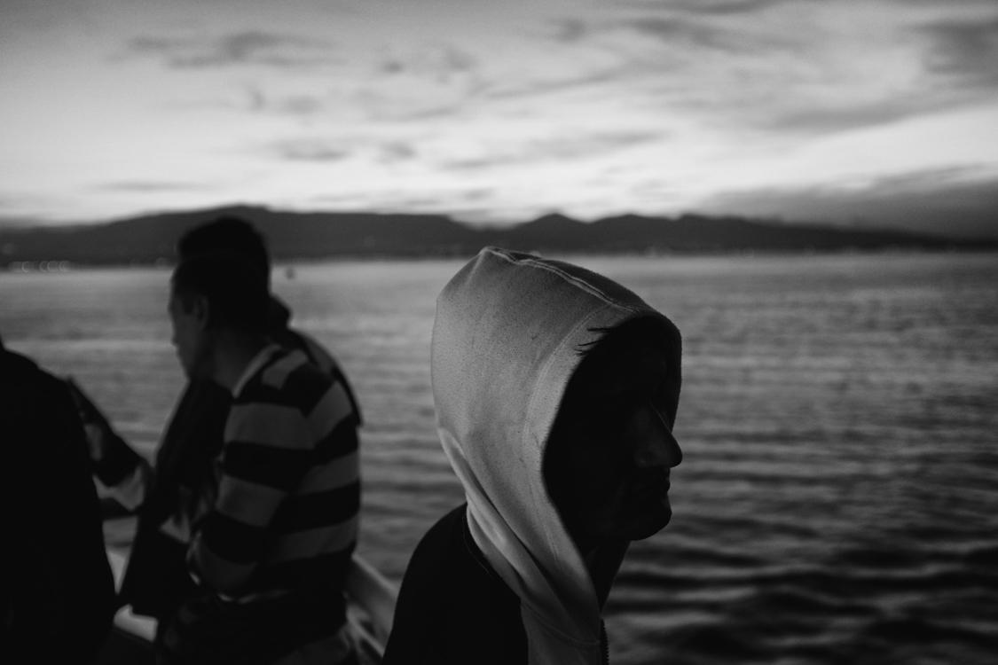 A migrant on a ferry off the coast of Kos island, heading to Piraeus.